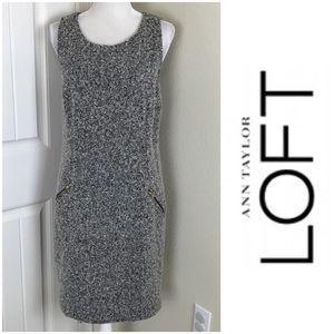 Loft Shift Textured tweed Dress Sz 12 W/ pockets